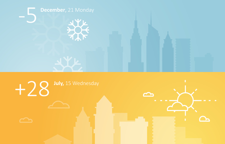 Illustration pour Weather widgets template winter and summer in city - image libre de droit