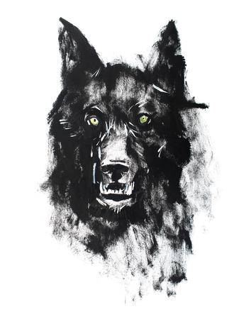 Foto de Watercolor drawing of black angry looking wolf. Animal portrait on white background - Imagen libre de derechos