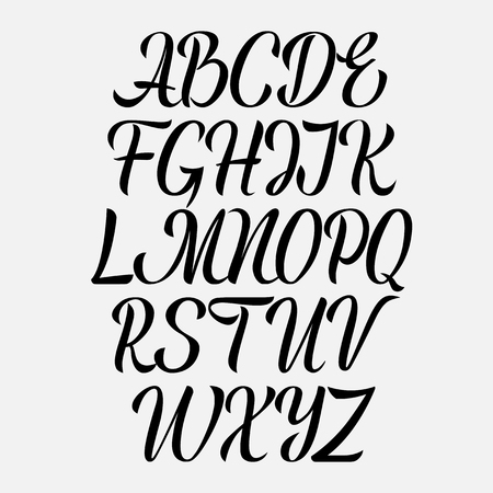 Illustration pour Handwritten vector aphabet. Hand drawn lettering font. Brush script calligraphy cursive type. - image libre de droit