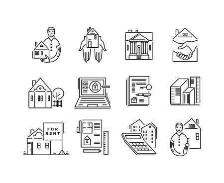 Illustration pour Line icons real estate sale and rent signs. - image libre de droit