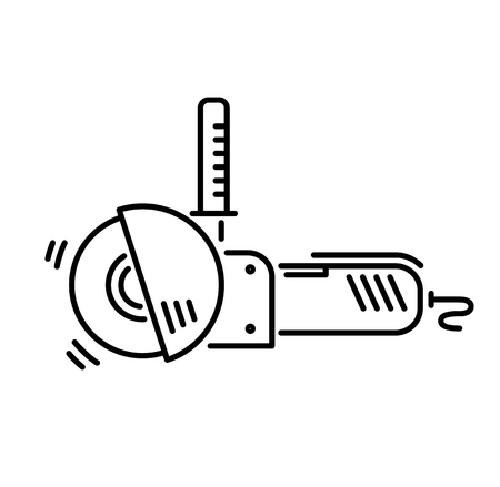 Illustration for Working tools for construction and repair line icon angle grinder. - Royalty Free Image