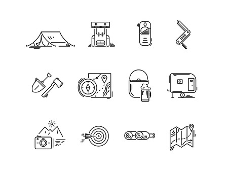 Ilustración de Line icons set of hiking tourism, camping. - Imagen libre de derechos