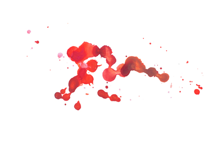 Photo pour Abstract watercolor aquarelle hand drawn colorful shapes art red color paint or blood splatter stain - image libre de droit