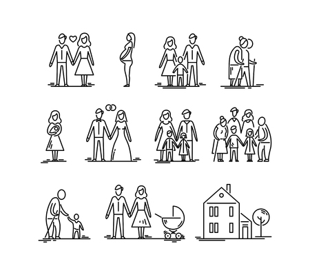 Illustration pour Family development stages, parents and children. Relationship mother father kids grandfather and grandmother. - image libre de droit