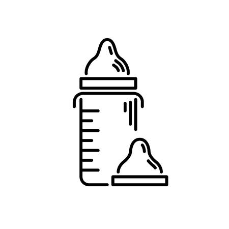 Illustration pour Thin line baby icon Artificial feeding drinking bowl. - image libre de droit