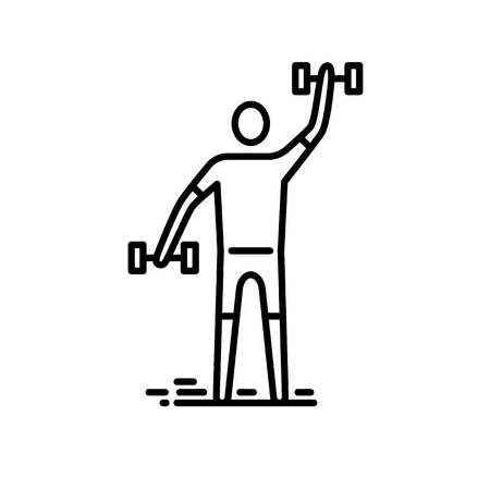 Illustration for Thin line icon. Man exercising with bumbbell - Royalty Free Image