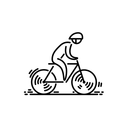 Illustration for Bicycle cyclist Bike icon vector. Cycling. Thin line icon. - Royalty Free Image