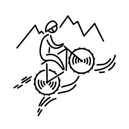 Illustrazione per Mountain bike cyclist icon vector. Cycling. Bicycle. Thin line icon. - Immagini Royalty Free