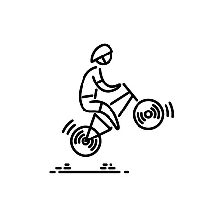 Ilustración de Bicycle cyclist Bike icon vector. Cycling. Thin line icon. - Imagen libre de derechos