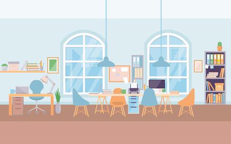 Illustration pour Empty modern office interior workplace desk, co-working center university. - image libre de droit