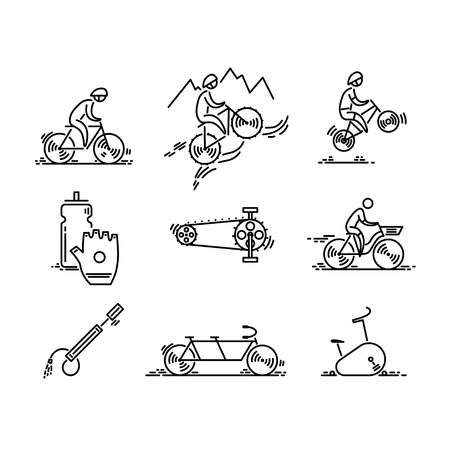 Illustrazione per Bicycle. Bike types icon vector. Cycling set. Thin line icons. - Immagini Royalty Free