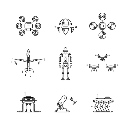 Illustration pour Thin line icons set of high technology. Artificial intelligent robot, quadcopter, drone, plane and manipulator - image libre de droit