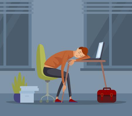 Illustration for Sleeping student schoolboy pupil at school vector illustration - Royalty Free Image