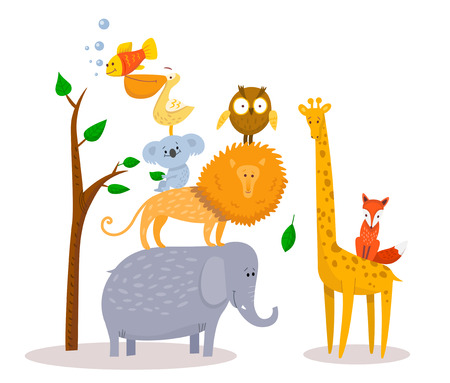 Illustration pour Cute funny cartoon animals Lion, giraffe, elephant, fox, owl. - image libre de droit