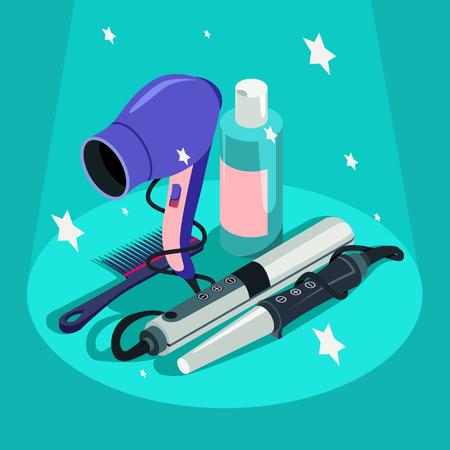 Illustration pour Set of hairdressing styling equipment hair dryer, curler illustration. - image libre de droit