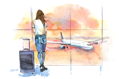 Photo pour Travel. Woman traveler in airport looking at aircraft through glass window. Girl tourist waiting airplane departure. - image libre de droit