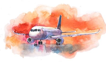 Foto de Aircraft. Airplane flying in the cloudy sky. Passenger plane is landing to airport runway - Imagen libre de derechos