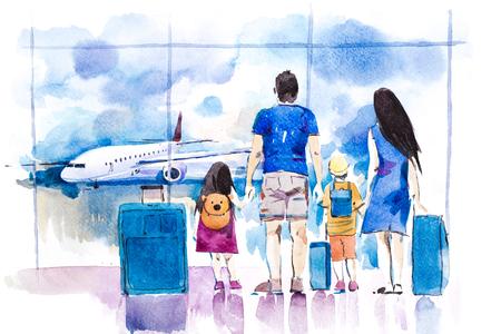 Foto de Young family travelling in international airport standing near window. - Imagen libre de derechos