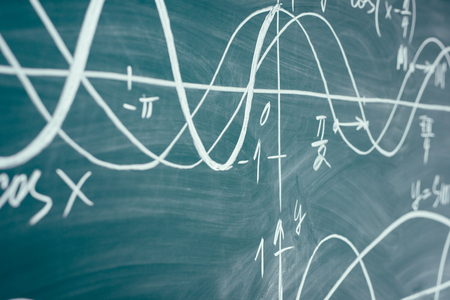 Photo pour Trigonometry. School Chalkboard Function graphs Math lesson. - image libre de droit
