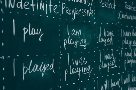 Foto de Blackboard in an English class. Lesson, lecture, studying learning foreign language. - Imagen libre de derechos