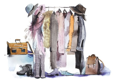 Photo for Clothing store shelving and display of clothes. - Royalty Free Image