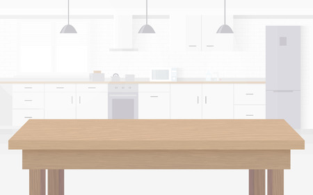 Ilustración de Modern new light interior of kitchen with white furniture. - Imagen libre de derechos