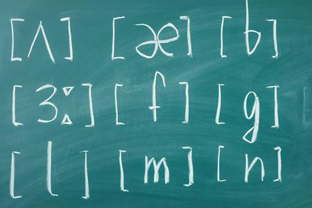 Photo pour Learn english School lesson class chalkboard International phonetic alphabet. - image libre de droit