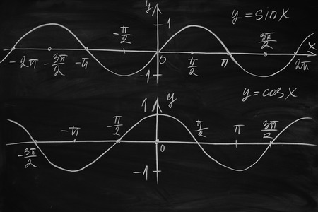 Photo pour Math lesson. Sine and cosine functions. Graphics graphics drawn on the Board - image libre de droit