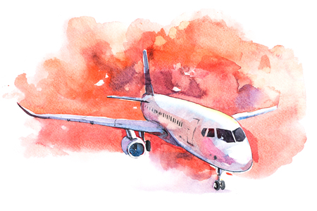 Photo pour Aircraft is at the airport on the take-off field watercolor. - image libre de droit