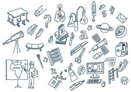 Illustration for Learning and education Hand drawn doodle school elements. - Royalty Free Image