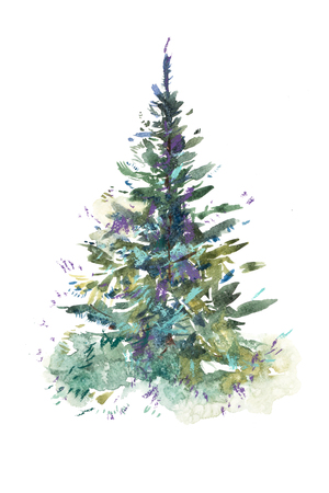 Foto de Christmas tree. New year, xmas celebration. Watercolor drawing. Watercolour painting - Imagen libre de derechos