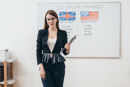 Foto de Female teacher looking at camera. English language school. - Imagen libre de derechos