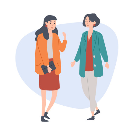Illustrazione per Female friends talking spending time together. Vector illustration. - Immagini Royalty Free
