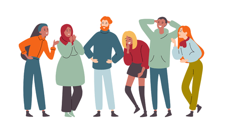 Ilustración de Group of diverse happy people muti-ethnic, laughing and joyful together - Imagen libre de derechos
