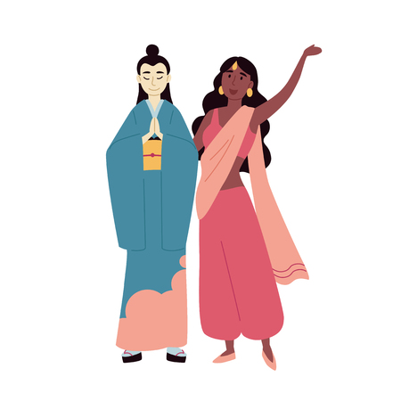 Illustration pour Diverse multiracial and multicultural group of people. Asian and indian women - image libre de droit