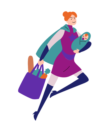 Ilustración de Super woman running with baby in hand and bag - Imagen libre de derechos