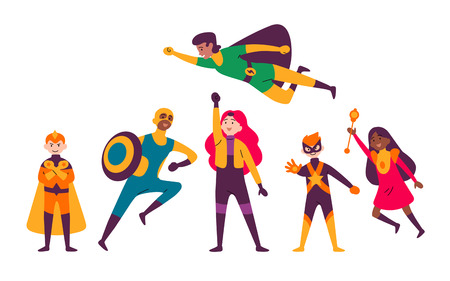 Illustration for Multiracial kids wearing costumes of different superheroes. - Royalty Free Image