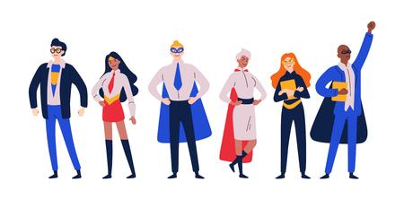Ilustración de Businessmen superheroes. Entrepreneur, manager in a hero costume. - Imagen libre de derechos