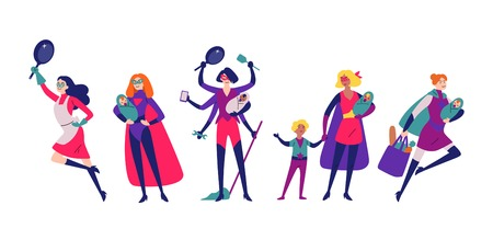 Ilustración de Women in superhero costumes do housework, cleaning, and raising children. - Imagen libre de derechos