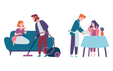 Illustration pour Men take care of women and do housework. Cleaning house, vacuuming floor, cooking. Family couples, festive, celebration. - image libre de droit