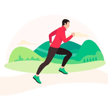 Ilustración de Jogging and running man. Runner in motion - Imagen libre de derechos