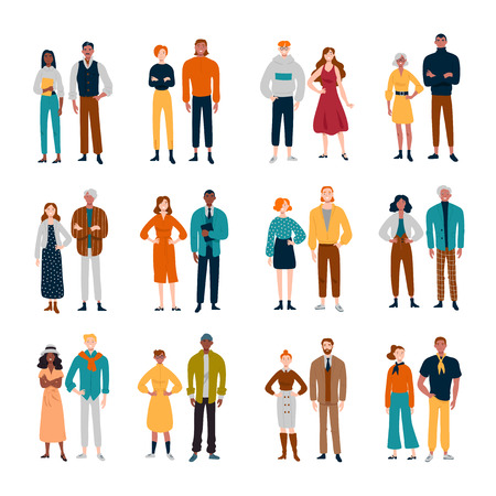 Ilustración de Couples of diverse people. Friends, pairs business colleagues - Imagen libre de derechos