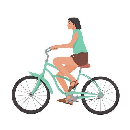 Ilustración de Girl riding bicycle, woman on bike vector - Imagen libre de derechos