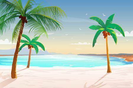 Illustration pour Beach with palm trees, white sand and turquoise sea. - image libre de droit