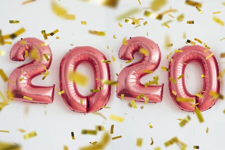 Foto de Christmas New Year 2020 numbers balloons. Celebration, holiday. - Imagen libre de derechos