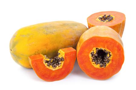 Photo for Papaya fruit sliced isolated on a white background - Royalty Free Image