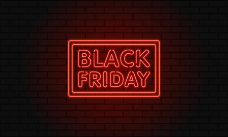 Ilustración de Dark web banner for black Friday sale. Modern neon red billboard on brick wall. Concept of advertising for seasonal offer with glowing neon text - Imagen libre de derechos