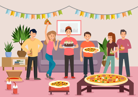 Illustration pour Cartoon group of cheerful people eating pizza at birthday party. Celebration. Vector illustration. Clipart. Flat style. - image libre de droit