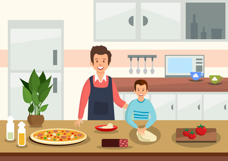 Illustrazione per Cartoon father helps son to knead dough for pizza in kitchen. People prepare Italian food. Vector illustration. - Immagini Royalty Free
