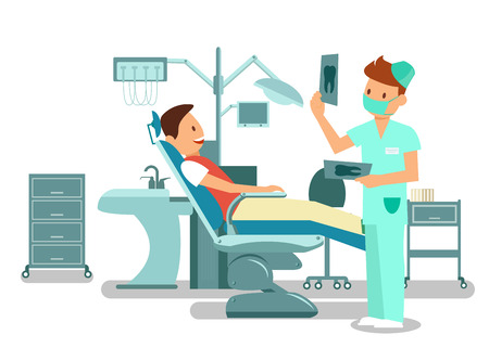 Illustration pour Teeth Checkup, Examination Vector Illustration. Cheerful Patient Sitting in Dental Chair and Young Dentist Cartoon Characters. Stomatology Visit, Dental Office Equipment. Orthodontic Treatment - image libre de droit